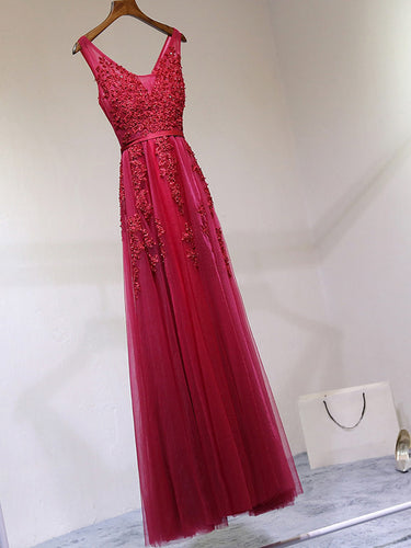 Prom Dresses A-line Burgundy Tulle Prom Dress/Evening Dress #JKL001