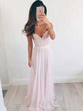 Prom Dresses Pink A-line V-neck Chiffon Prom Dress/Evening Dress #JKL003