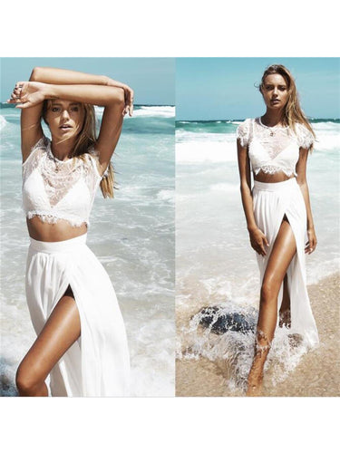 Prom Dresses White Lace Two Pieces Prom Dress/Evening Dress #JKL006