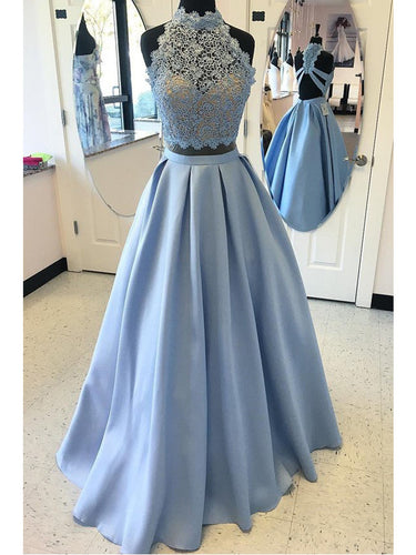 Prom Dresses Blue Halter Floor-length Satin Prom Dress/Evening Dress #JKL009