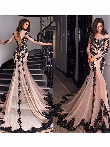 Prom Dresses Tulle Champagne Sheath/Column Prom Dress/Evening Dress #JKL010