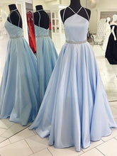 Prom Dresses Light Sky Blue Halter Satin Prom Dress/Evening Dress #JKL013