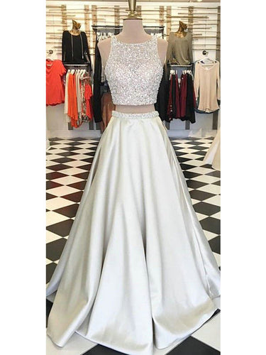 Prom Dress Champagne Sequins Two Pieces Prom Dress/Evening Dress #JKL014
