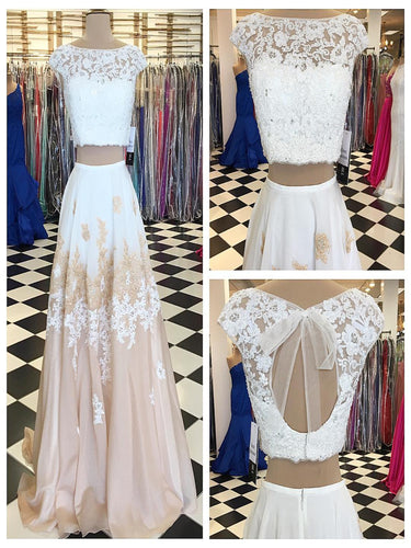 Prom Dresses Two Pieces Short Train Chiffon Prom Dress/Evening Dress #JKL015|Annapromdress