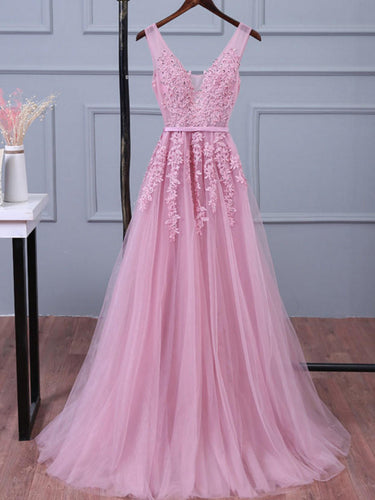 Prom Dresses Appliques V-neck Long Tulle Prom Dress/Evening Dress #JKL019