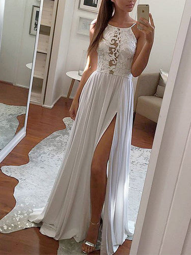 Prom Dresses Chiffon White Lace Long Halter Prom Dress/Evening Dress #JKL020