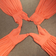 Bridesmaid Dresses Organge A-line V-neck Long Bridesmaid Dresses#JKL024