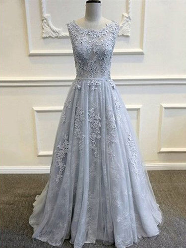 Prom Dresses Silver Lace Tulle Long Prom Dress/Evening Dress #JKL027
