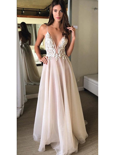 Prom Dresses Chiffon White Lace Long Halter Prom Dress/Evening Dress #JKL034