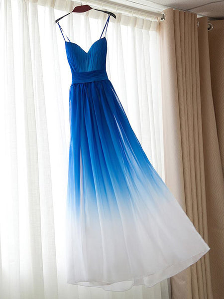 Prom Dresses Royal Blue Ombre Spaghetti Straps Prom Dress/Evening Dress #JKL035