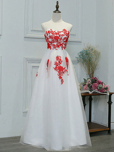 Prom Dresses White And Red Long Appliques Prom Dress/Evening Dress #JKL036