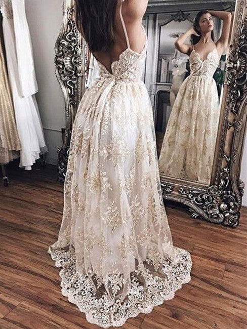 8ad6630c99ee Prom Dresses Lace Champagne Backless Sexy Prom Dress/Evening Dress #JKL038