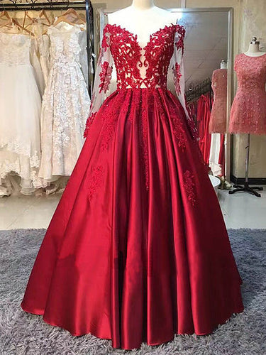 Red Prom Dresses Off-the-shoulder Long Sleeve Prom Dress/Evening Dress JKL045