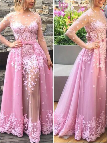 Long Sleeve Prom Dresses Detachable Train Sexy Prom Dress/Evening Dress JKL050