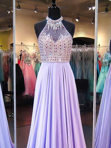 Chic Prom Dresses A-line Halter Chiffon Lilac Prom Dress/Evening Dress JKL052