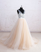 Long Prom Dresses V-neck Sweep/Brush Train Prom Dress/Evening Dress JKL053
