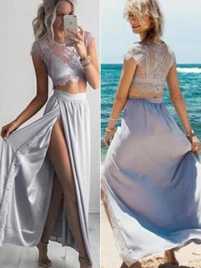 Two Pieces Cheap Prom Dresses Lace Long Prom Dress/Evening Dress JKL054