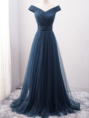Cheap Prom Dresses Off-the-shoulder Long Tulle Prom Dress/Evening Dress JKL060