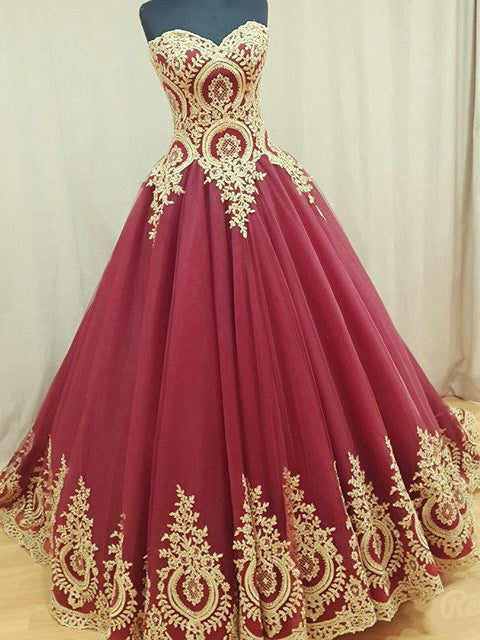 Burgundy Prom Dresses Sweetheart Appliques Floor-length Prom Dress/Evening Dress JKL063