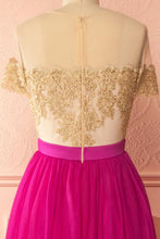 Fuchsia Prom Dresses Scoop Appliques Tulle Long Prom Dress/Evening Dress JKL069