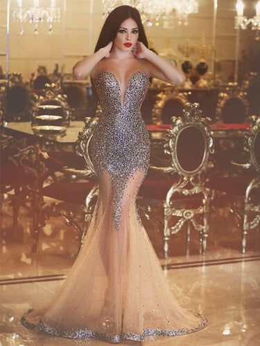 Sexy Prom Dresses Trumpet/Mermaid Long Tulle Prom Dress/Evening Dress JKL071