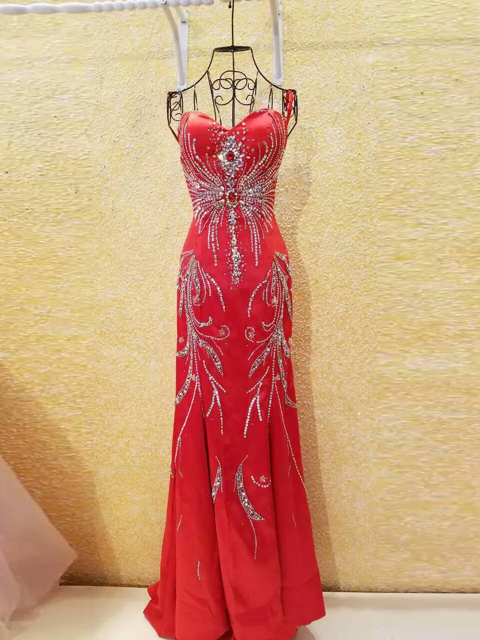 Red Chic Prom Dresses Sheath/Column Short Train Prom Dress/Evening Dress JKL072