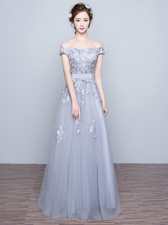 Chic Prom Dresses Off-the-shoulder Floor-length Prom Dress/Evening Dress JKL075