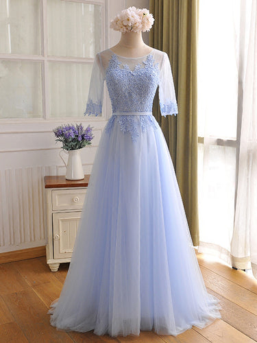 Beautiful Prom Dresses Scoop Appliques Floor-length Prom Dress/Evening Dress JKL079