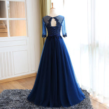 Chic Prom Dresses Sexy Dark Navy Appliques Lace-up Long Prom Dress/Evening Dress JKL080