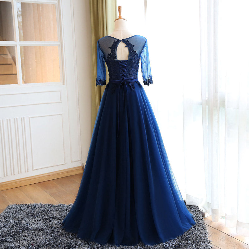 35d5e8906f4b Chic Prom Dresses Sexy Dark Navy Appliques Lace-up Long Prom Dress/Evening  Dress ...