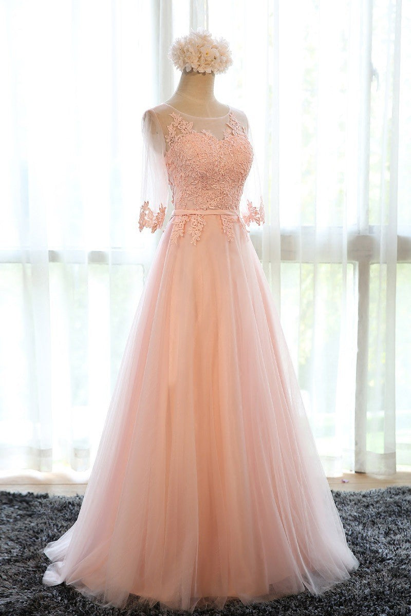 Beautiful Prom Dresses Pearl Pink Tulle Long Prom Dress
