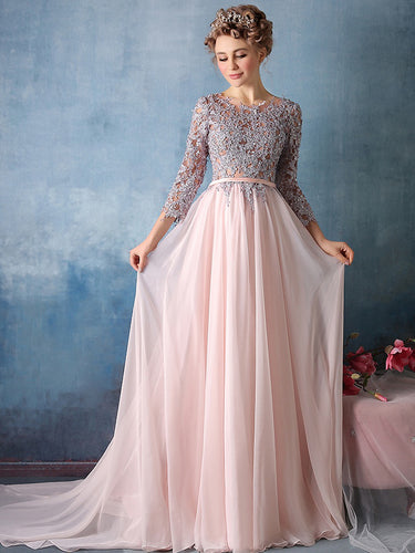 Long Cute Prom Dresses Scoop Appliques Chiffon Prom Dress/Evening Dress JKL083