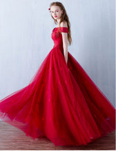 Burgundy Prom Dress Off-the-shoulder Floor-length Prom Dress/Evening Dress JKL084