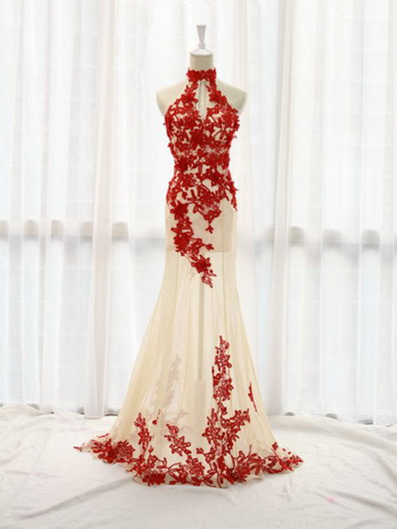 Beautiful Prom Dresses High Neck Floor-length Prom Dress/Evening Dress JKL087