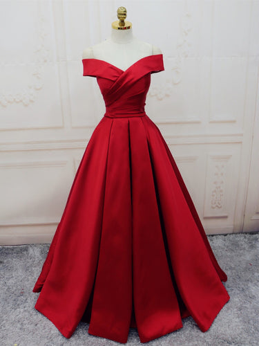 Burgundy Prom Dresses Off-the-shoulder Long Satin Prom Dress/Evening Dress JKL090