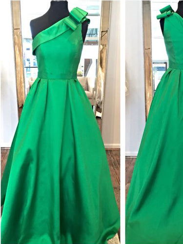 Chic Hunter Prom Dress One Shoulder Floor-length Prom Dress/Evening Dress JKL096
