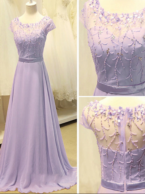 Beautiful Prom Dresses A-line Long Lilac Chiffon Prom Dress/Evening Dress JKL097