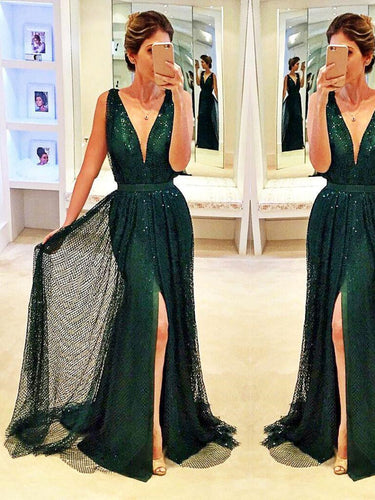 Sexy Dark Green Prom Dresses Sheath/Column Sequins Prom Dress/Evening Dress JKL098