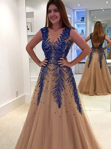 Luxury Prom Dresses V-neck A-line Long Sexy Sparkly Prom Dress JKL1000|Annapromdress