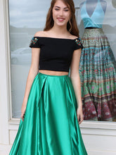 Two Piece Prom Dresses A line Black Long Prom Dress Sexy Evening Dress JKL1001|Annapromdress