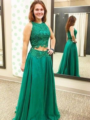 Two Piece Prom Dresses Scoop A-line Hunter Green Lace Prom Dress JKL1003|Annapromdress