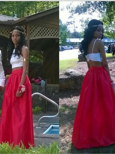 Two Piece Prom Dresses White and Red A-line Long Simple Chic Prom Dress JKL1006|Annapromdress