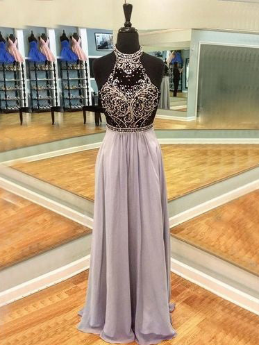 Sparkly Prom Dresses High Neck A line Long Sexy Beautiful Prom Dress JKL1007|Annapromdress