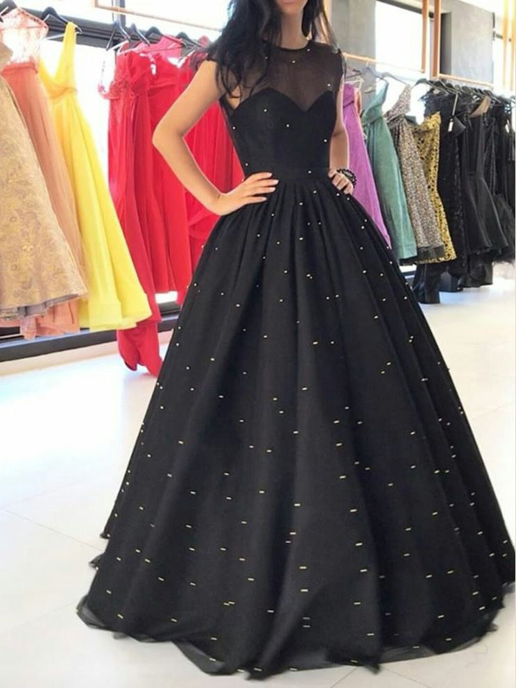 Black Prom Dresses Pearl Ball Gown Long Sparkly Prom Dress ...