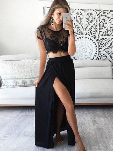 Two Piece Prom Dresses A-line Lace Prom Dress Black Evening Dress JKL1013|Annapromdress