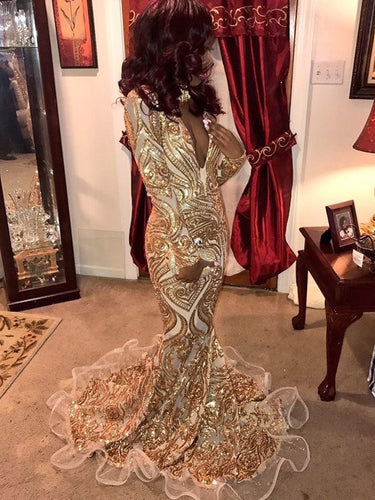Long Sleeve Prom Dresses Mermaid V-neck Gold Long Luxury Prom Dress JKL1016|Annapromdress