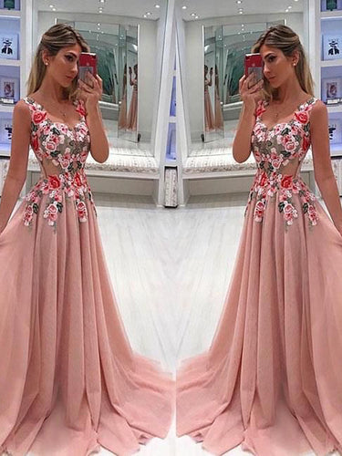 Sparkly Prom Dresses A-line Straps Long Embroidery Prom Dress JKL1019|Annapromdress