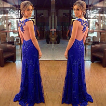 Beautiful Prom Dresses Royal Blue Sheath/Column Long Prom Dress/Evening Dress JKL102