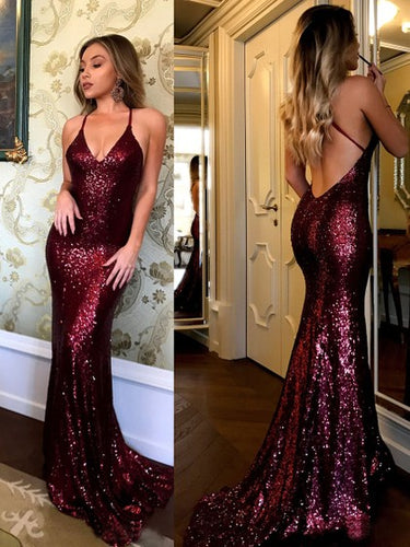 Burgundy Prom Dresses Halter Sweep Train Sexy Mermaid Prom Dress JKL1020|Annapromdress