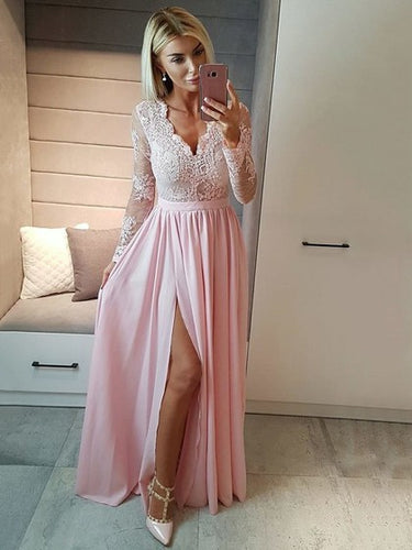Long Sleeve Prom Dresses A-line Lace Prom Dress Long Evening Dress JKL1021|Annapromdress
